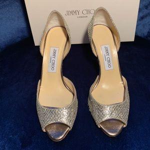 Jimmy Choo Glitter Champagne Heels, Size 37